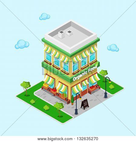 Organic Food Shop. Isometric Grocery Vector illustration