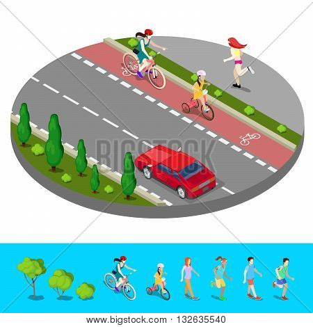 Isometric City. Bike Path with Bicyclist and Footpath with Running Woman. Vector illustration
