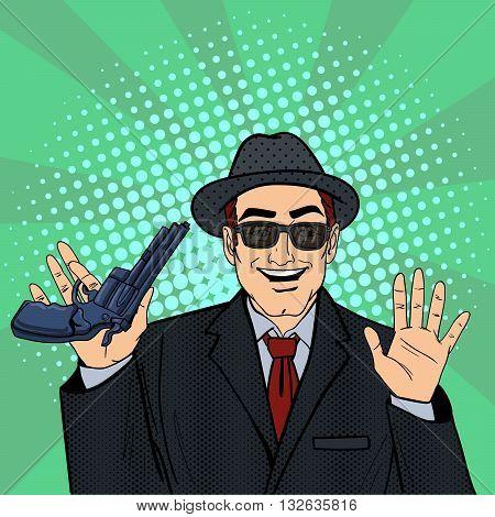 Mafioso with Gun. Pop Art Mafia Boss. Vector illustration