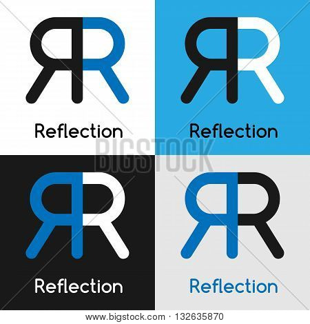 Logo design template with two united letters R representing reflection in four variations of blue white black colors. Vector illustration label.