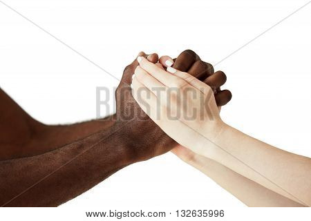 White Caucasian Woman And Black African Man Holding Hands In Cordial Handshake Expressing Support, F