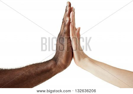 White Caucasian Female And Black African American Male Holding Hands Together In World Unity, Racial