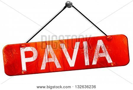 Pavia, 3D rendering, a red hanging sign