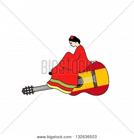 Beautiful stylized girl in red dress sitting on spanish guitar vector illustration isolated on white background.