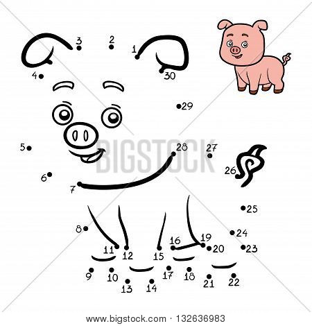 Numbers Game For Children. Little Pig