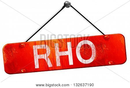 Rho, 3D rendering, a red hanging sign