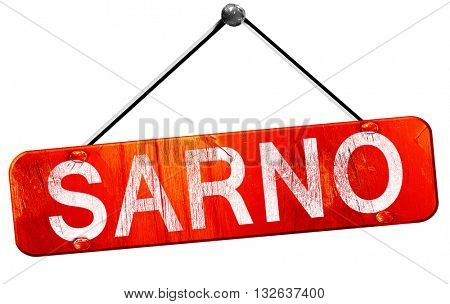Sarno, 3D rendering, a red hanging sign