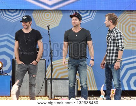 NEW YORK-JUNE 26  (L-R) Canaan Smith, Kip Moore and Dierks Bentley performs onstage at ABC's Good Morning America Summer Concert Series at Rumsey Playfield on June 26, 2015 in New York City.