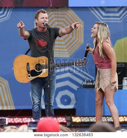 NEW YORK-JUNE 26:  Singer Dierks Bentley (L) and Taylor Dye perform onstage at ABC's Good Morning America Summer Concert Series at Rumsey Playfield on June 26, 2015 in New York City.