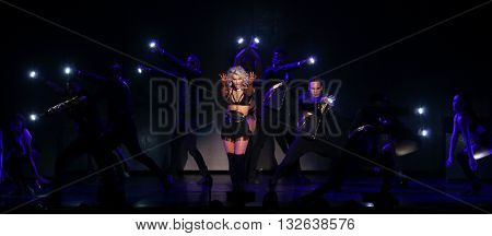 NEW YORK-JUL 9: Julianne Hough performs on stage during the Move Live On Tour at Radio City Music Hall on July 9, 2015 in New York City.