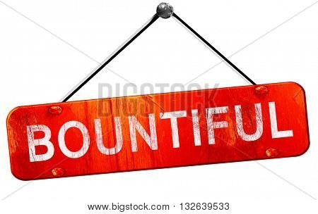 bountiful, 3D rendering, a red hanging sign