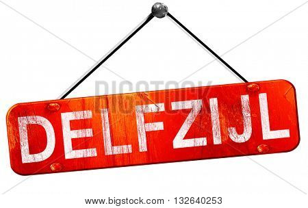Delfzijl, 3D rendering, a red hanging sign