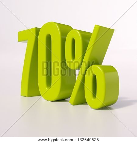 3d render: green 70 percent, percentage discount sign on white, 70%