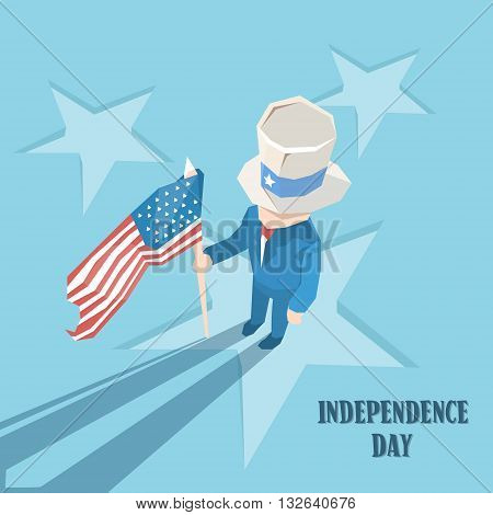Uncle Sam Cylinder Hat Hold United States Flag Happy Independence Day American Holiday Vector Illustration