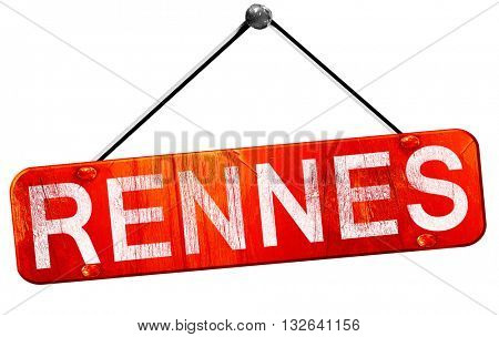 rennes, 3D rendering, a red hanging sign