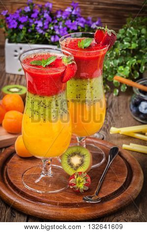 Smoothies With Fresh Fruit. Strawberries, Apricots, Kiwi.