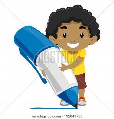Vector illustration of a Boy holding a Ballpen