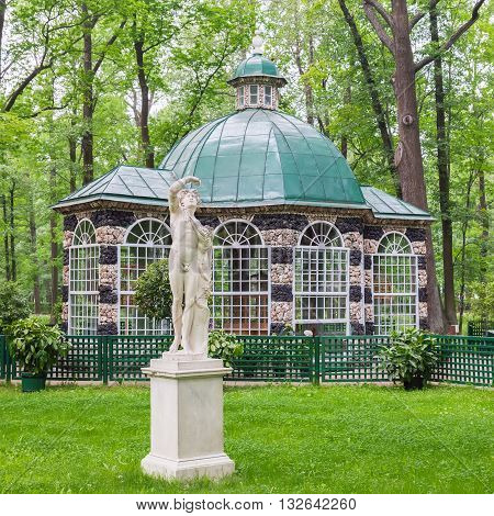 SAINT PETERSBURG, RUSSIA -JUNE 02, 2016: Aviary Pavilion in the Lower Gardens of Peterhof (near St. Petersburg). Fountains of Peterhof are one of Russia's most famous tourist attractions