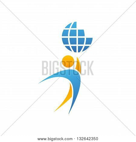 Globe logo man hands up planet together achievement success creative idea save Earth emblem mockup vector illustration isolated on white background