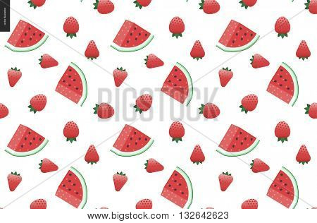 Strawberries and watermelon seamless hand drawn vector pattern with transparent background