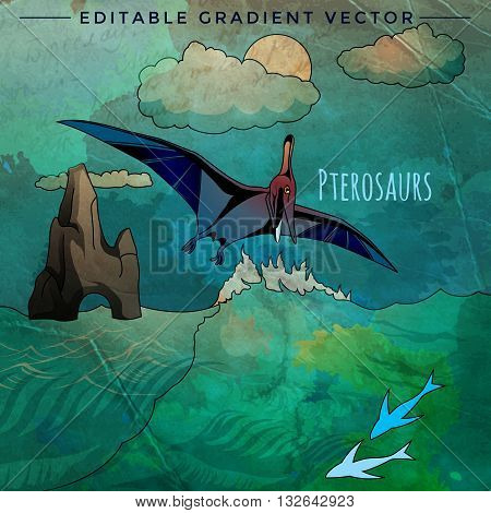 Pterosaurs. Vector illustration of a dinosaur in its habitat.