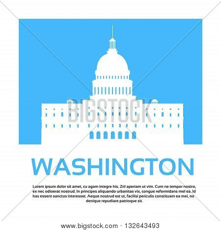 Capitol Building United States Of America Senate House Washington Vector Illustration