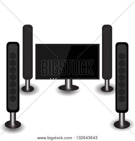 3D TV home entertainment system. Modern TV with speakers. TV with speakers, with a black screen, vector