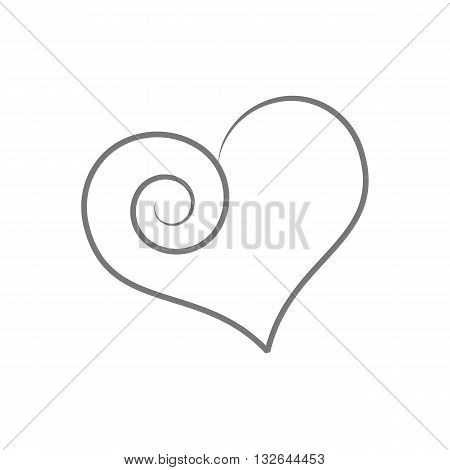 Beautiful stylized line drawing weird heart vector illustration isolated on white backgorund.
