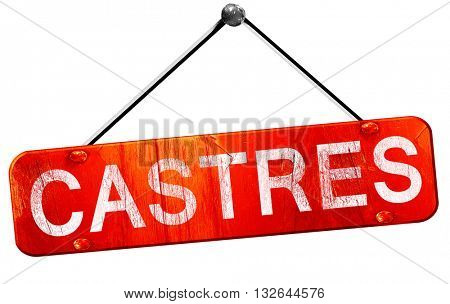 castres, 3D rendering, a red hanging sign