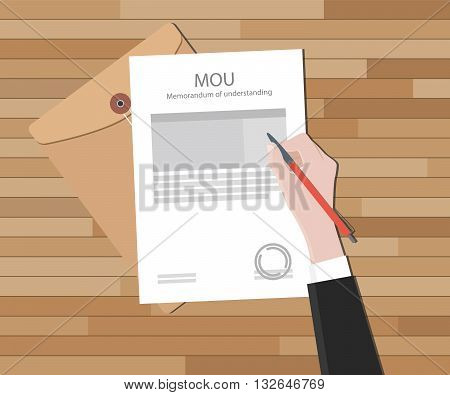 mou memorandum of understanding text on document hand signing on top of wood table vector graphic illustration