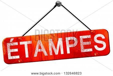etampes, 3D rendering, a red hanging sign