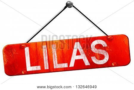 lilas, 3D rendering, a red hanging sign