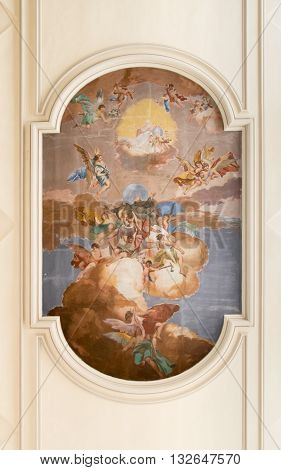 Marostica Italy - April 12 2016: Central fresco on the ceiling of the church of Saint Anthony Abbot representing the saint.