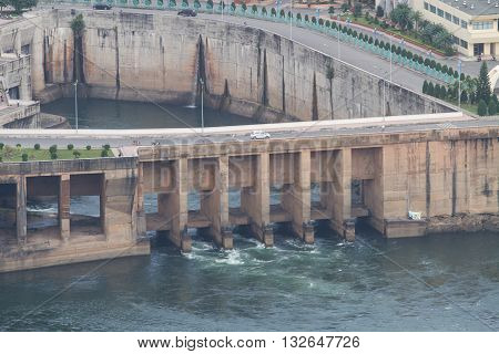 HOA BINH, VIETNAM - JAN 9, 2016: View of Hoa Binh Hydroelectricity Plant. This plant was built from 1979 to 1994 with 8 machines provides 1920 MW, equal to one third of productivity of Vietnam.