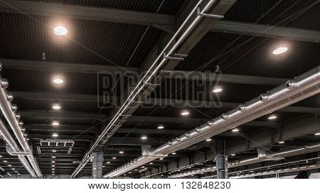 Air conditioning distribution system of a modern industrial building.