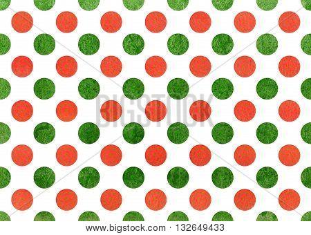 Watercolor Orange And Green Polka Dot Background.