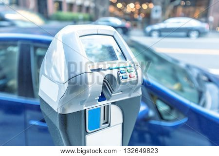 parking machine with electronic payment on road in san francisco