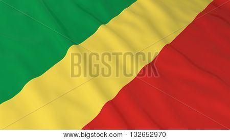 Congolese Flag HD Background - Flag of Congo 3D Illustration