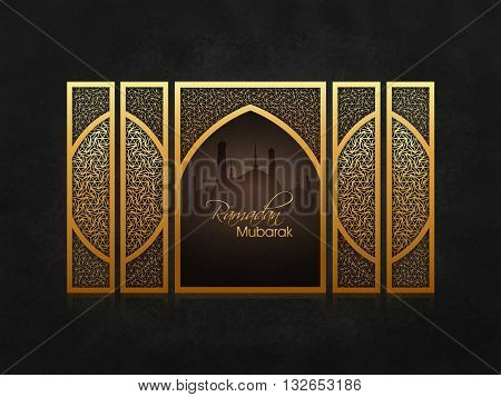 Silhouette of glossy Mosque with golden Traditional Floral design for Holy Month of Muslim Community Festival Celebration.