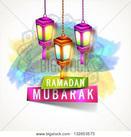 Illuminated glowing Traditional Lanterns with Ramadan Mubarak glossy banners for Holy Month of Muslim Community Festival Celebration.