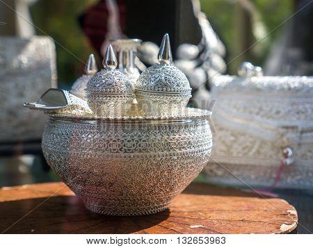 Antique Thai silver ware, art handicraft products