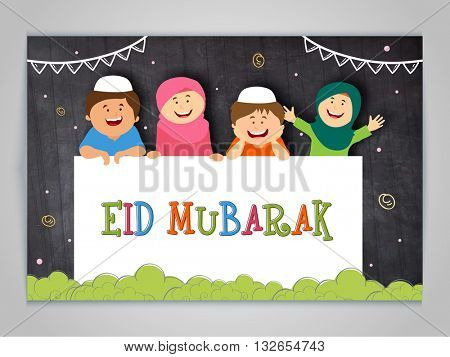 Illustration of happy cute Islamic Kids, Celebrating and Wishing Muslim Community Festival, Eid Mubarak.