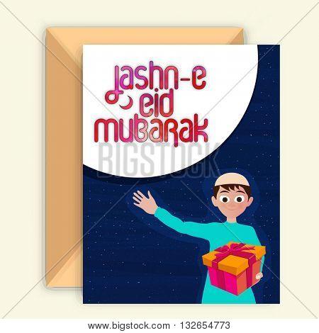 Greeting Card design with Envelope and Islamic Boy holding gift, Wishing and Celebrating on occasion of Jashn-E-Eid Mubarak.