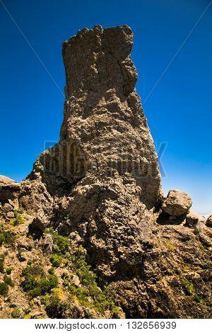 Rock at Parque Rural del Nublo on mountain of Gran Canaria in Spain.