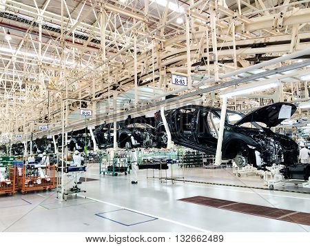 PRACHINBURI Thailand - May 12 2016: Honda Automobile Thailand assembly line of car body parts at Prachinburi plant in Rojana Industrial Park.