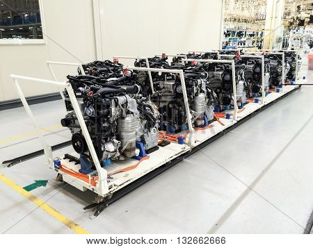 PRACHINBURI Thailand - May 12 2016: Honda engine at the automobile assembly line at Prachinburi plant in Rojana Industrial Park.