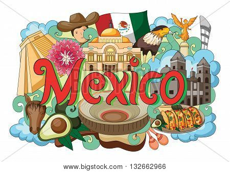 vector illustration of Doodle showing Architecture and Culture of Mexico