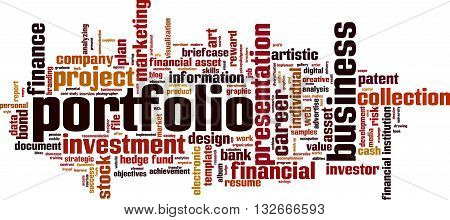 Portfolio word cloud concept. Vector illustration on white