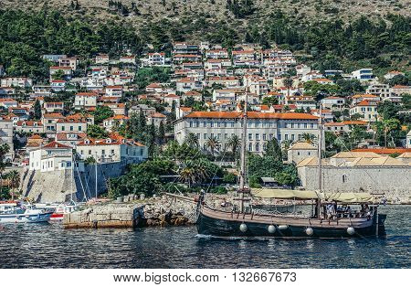 Dubrovnik Croatia - August 26 2015. Boat full of tourists seen from Old Town Harbour in Dubrovnik