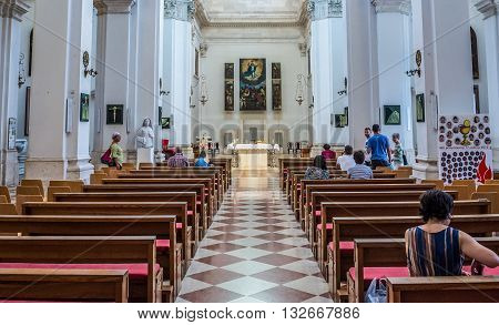 Dubrovnik Croatia - August 26 2015. Dubrovnik Croatia - 26th August 2015. People in the Assumption of the Virgin Mary Cathedral